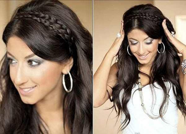распущенные волосы с ободком из косичек